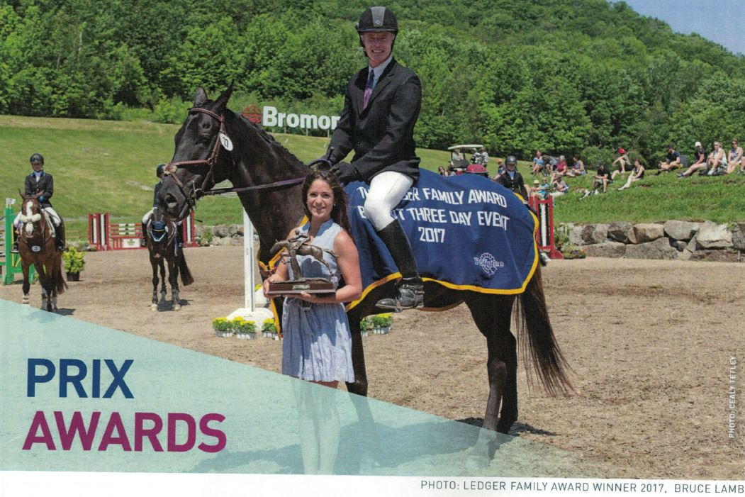 Bruce Lamb and Gamble being presented the 2017 Ledger Family Award for Top Adult Amateur at Bromont CCI 1* Level